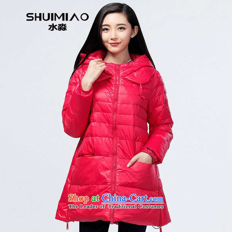 The representative of the 2014 autumn and winter water larger female new Korean edition thickness of girls down long S14DQ4070 Sau San Shi Yinhong Hung XXL