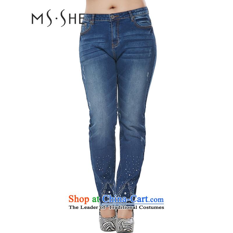 Msshe xl women 2015 new mid-high elastic waist video thin cowboy castor trouser press trousers No. 7883  An Act Granting Denim blue燭3