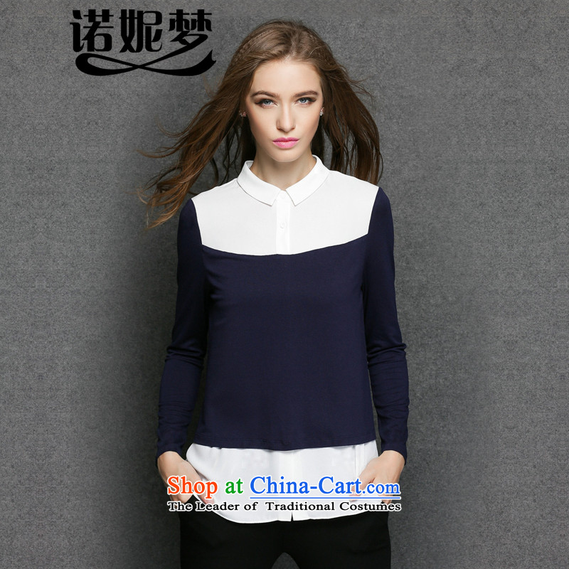 The Ni dream new) Autumn 2015, Europe and the large number of ladies thick mm stylish color plane collision stitching lapel long-sleeved shirt video thin two forming the false y3290 shirt dark blue XL