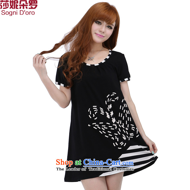 Luo Shani Flower Code women's summer T-shirts thick sister dresses to xl short-sleeved thick, Hin thin black聽6XL 6,242 patients, Butterfly Park Flower