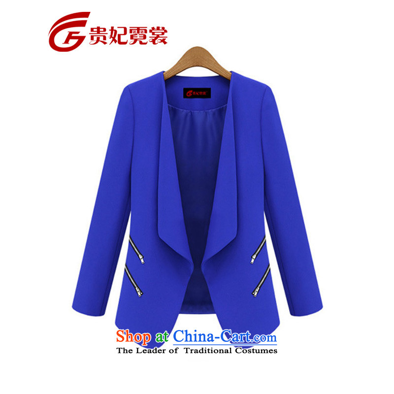 Gwi Tysan 2015 thick mm spring new extra women small business suit to xl loose lapel cardigan suit Female M45102 blue 3XL Jacket