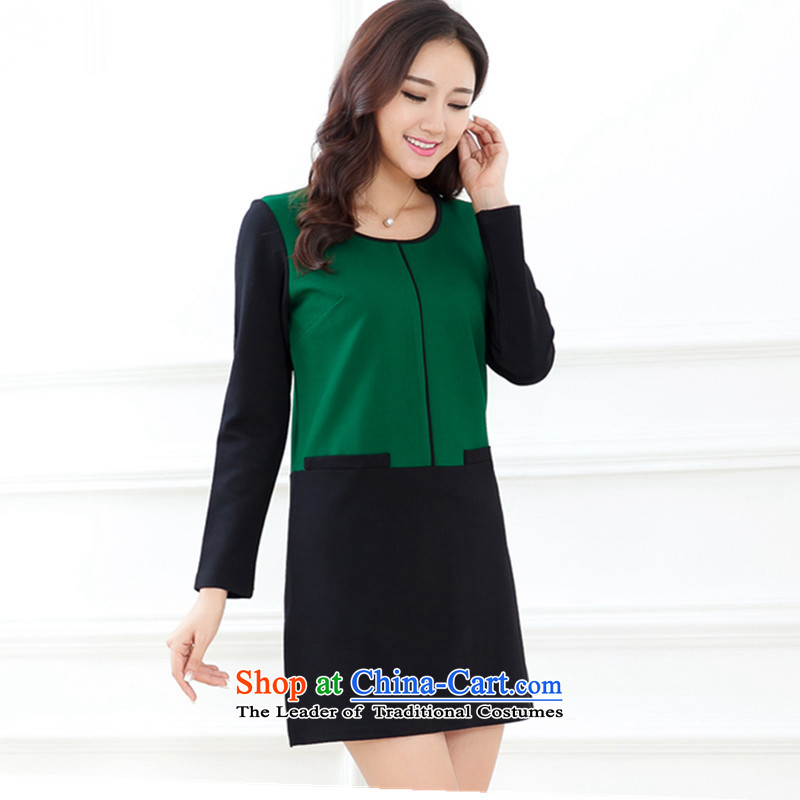 Maximum number of women fall 2015 ultra high-end long-sleeved autumn load temperament dresses early autumn new Korean large female cotton linen video thin Sau San long-sleeved dresses gas green XXXL