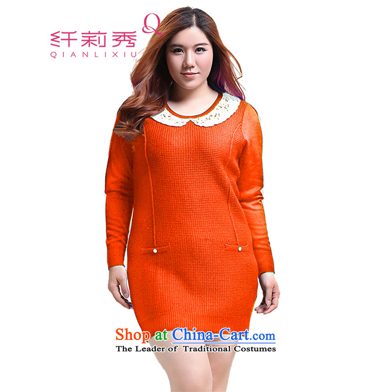 The former Yugoslavia Li Sau 2014 autumn and winter new larger female lace dolls, forming the basis for the Netherlands in long knitted sweaters Q5922�L orange