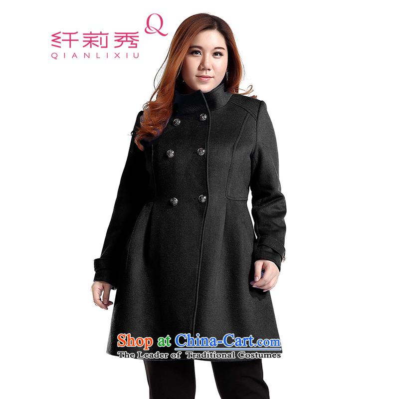 The former Yugoslavia Li Sau 2014 autumn and winter new larger England wind in collar long wool a wool coat jacket Q6060 black燣