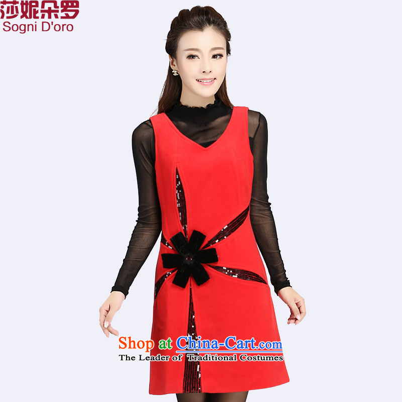 Shani flower lo xl women a skirt 200 catties mm2015 thick Fall_Winter Collections new V-Neck sleeveless video thin red�L 4066 Skirt
