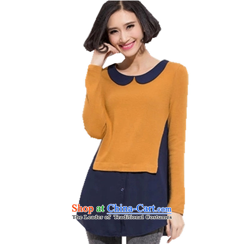 Load New autumn 2015 Korean female large relaxd dolls for long-sleeved shirt T-shirt autumn and winter new larger female thick mm dolls collar XXXXXL Sau San