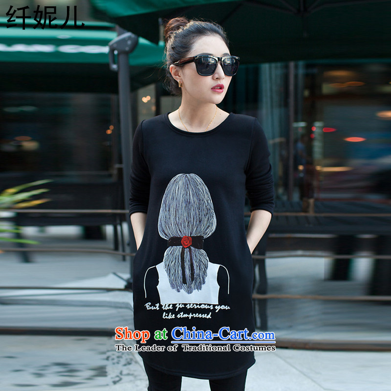 Connie's 2015 winter in the former Yugoslavia, the new large-thick lint-free T-shirt female loose recreational sport lace stamp long-sleeved shirt q5002?XXXL black