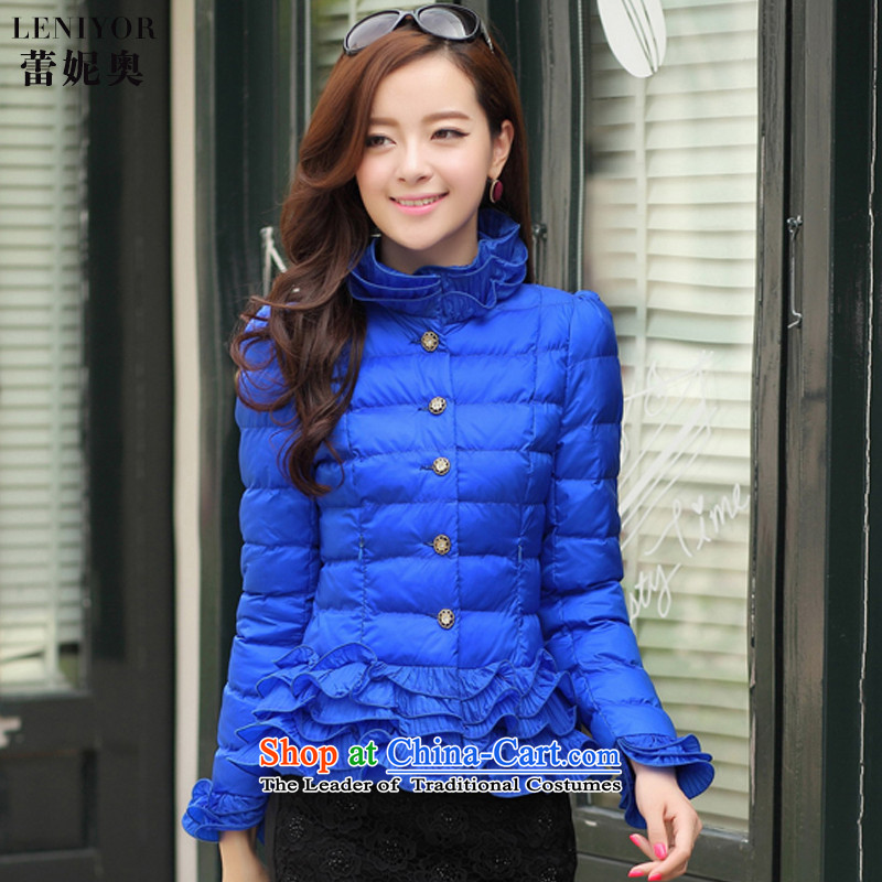 Mr. Ren é 2015 autumn and winter on new women's new autumn and winter clothes for larger women Fall/Winter Collections female small cotton padded coats jacketY98039 servicesblueXXL