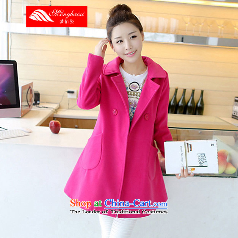 Dream Bai Gigi Lai�15 autumn and winter new Korean version of large numbers of ladies hair? coats that long thick mm loose a large number of female red�L MLT035_ Jacket