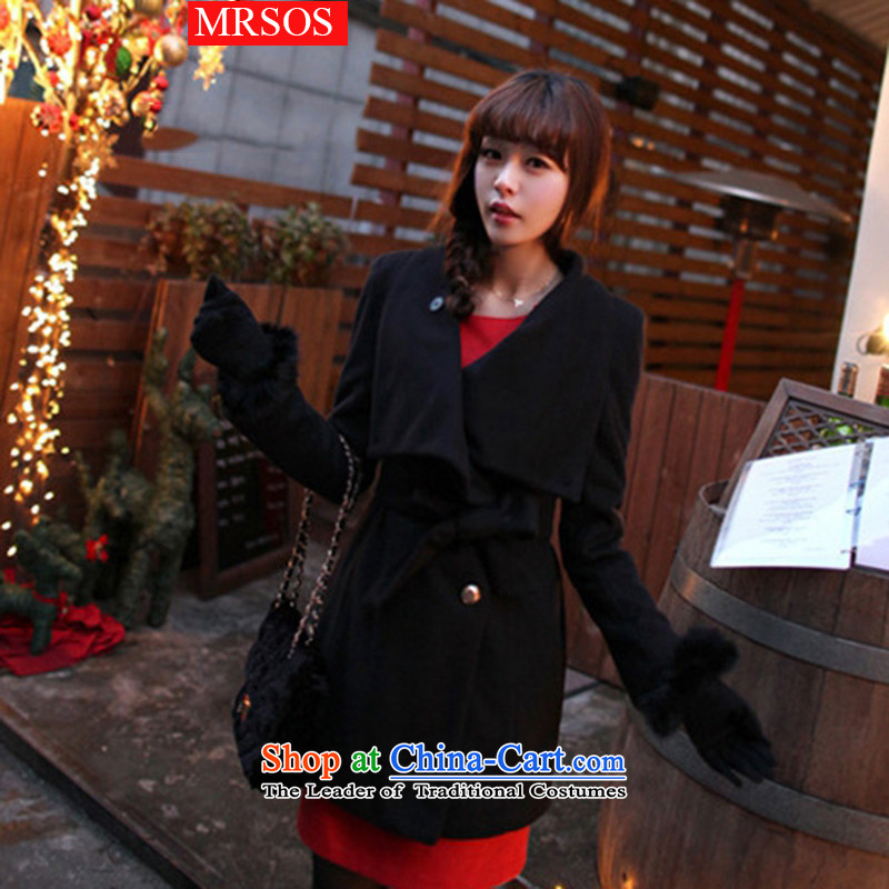 The autumn and winter, Korea MRSOS2015 version temperament and stylish in thin long graphics Sau San gross coats of female single-row is detained lapel gross flows of female Z003? jacket BlackXL
