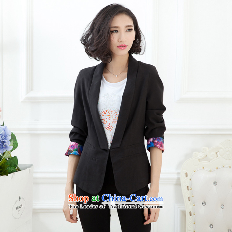 2015 Autumn jackets new small business suit Female spring and autumn large decorated in the body of the girl long Korean casual clothing extra women fall to intensify the thick black XXXXL mm