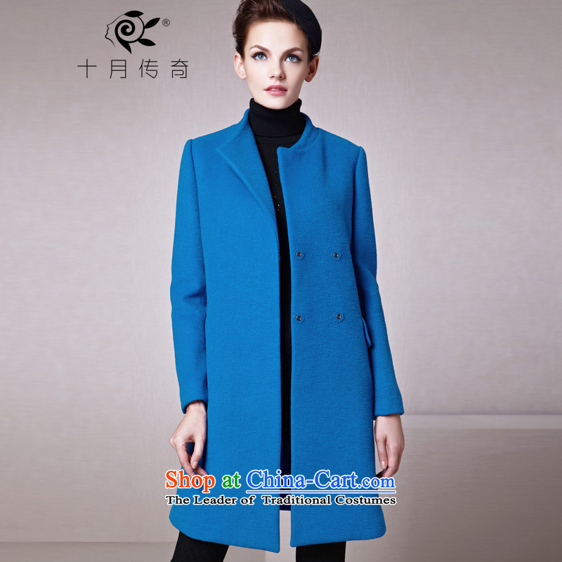 The legend of the fall and winter season October new stylish asymmetric lapel Sau San with a straight hair? coats female Lake Blue?M