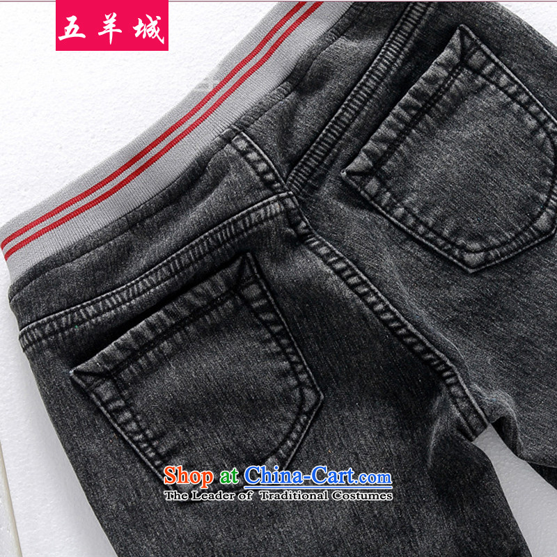 Five Rams City larger female pants Fall_Winter Collections of female graphics thick, thin Korean to xl trousers thick MM thick elastic waist-plus jeans 163 black with gray snowflake - the lint-free?XXXL_ recommendations about 150