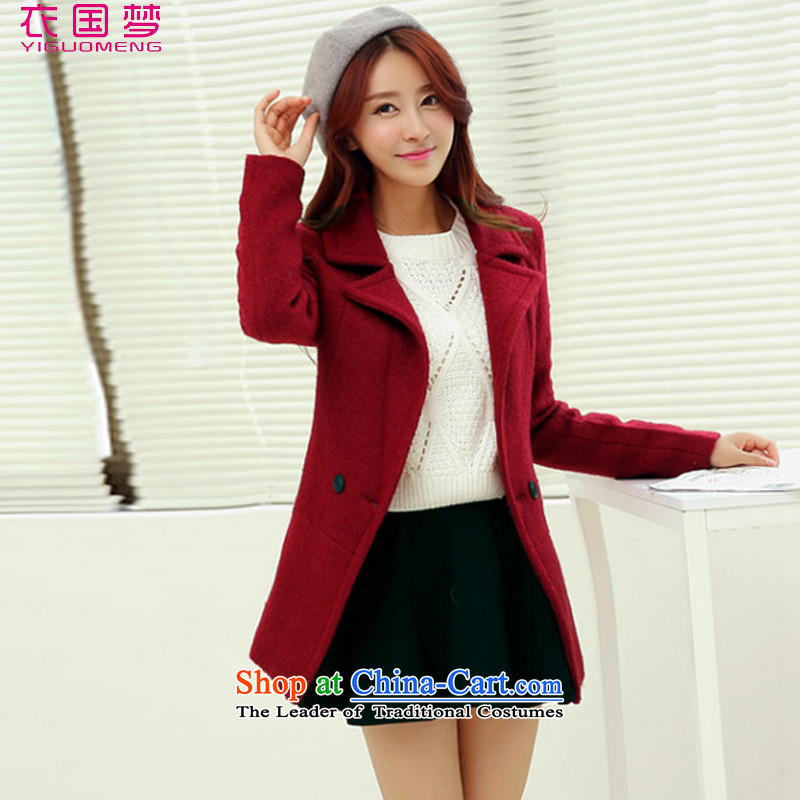 Yi Guo Meng 2015 Autumn replacing the new Korean girl who is decorated in long jacket coat gross? female 1018 wine redS
