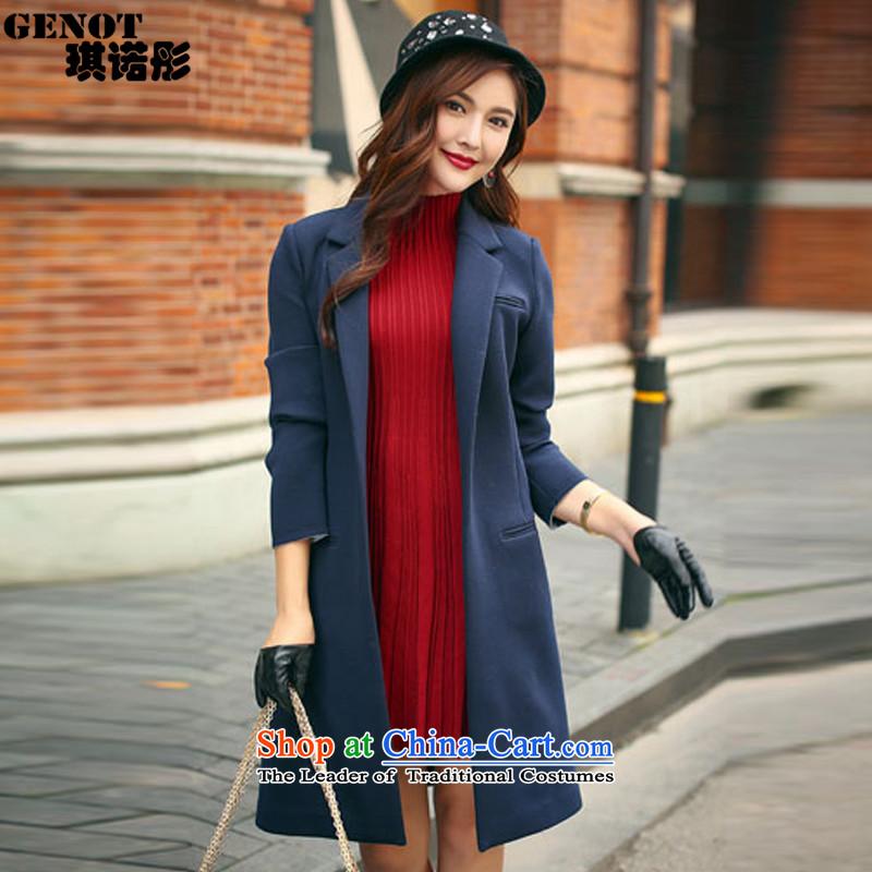 The2015 autumn tung hsin load new air layer Korean fashion sense so long coats that gross A8816 female blue coat?XL