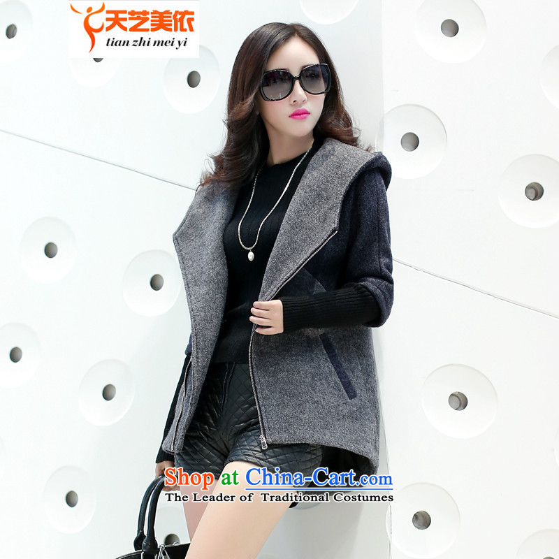 According to the聽2014 days Ji-mi autumn new product version won with cap color plane stylish gross jacket female short of what a wool coat 1020聽M Gray