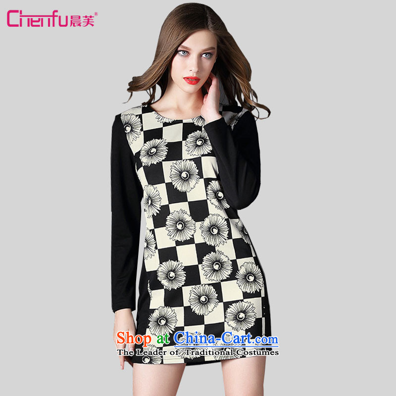 Morning to 200 catties to increase women's code thick MM autumn replacing stylish stamp Sau San video thin latticed long-sleeved black skirt聽2XL_ 135-150 for a catty_