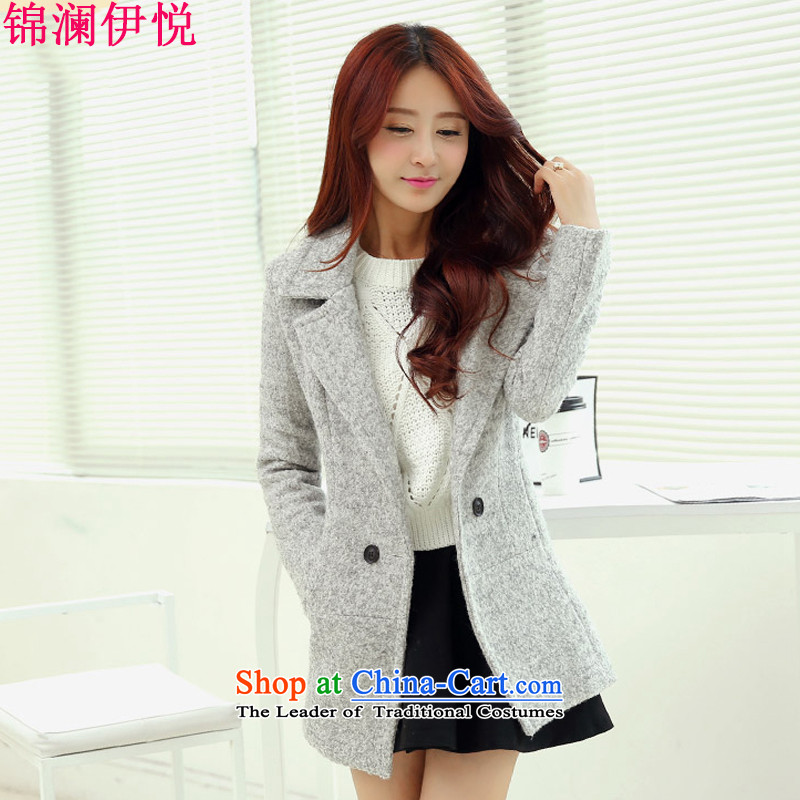 The world of Kam Yuet autumn and winter load new female entertainer personality Korean fashion Sau San video lapel large thin thick scurf a wool coat wind jacket female suits for the Light Gray L