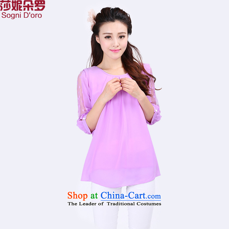 Luo Shani flower code t-shirt female short-sleeved T-shirt chiffon relaxd thick sister Summer 6775 blouses 6XL pattern cold comfort