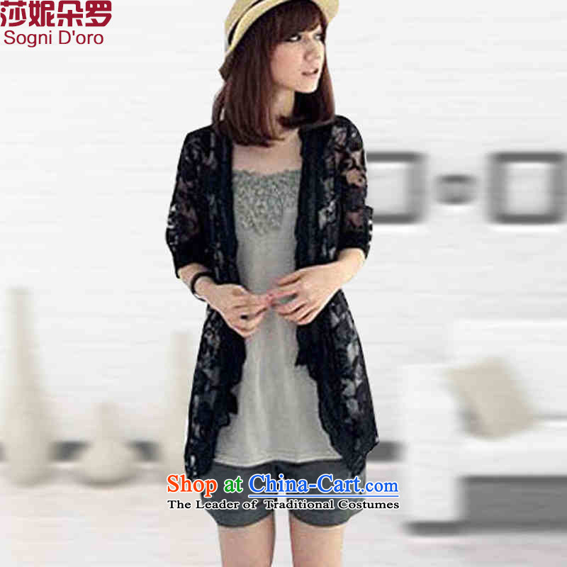King Of Shani flower code women 200 mm thick Korean catty new products fall quality lace thin cardigan jacket, black聽6XL 1228
