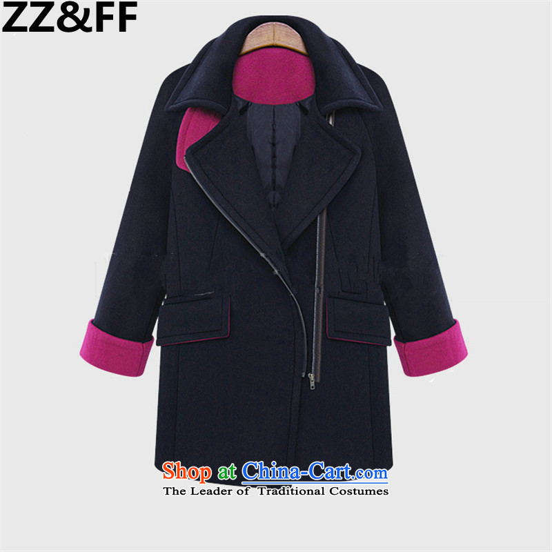 To increase the number Zz_ff female thick mm2015 autumn new_? butted long coats gross? female navy XXXL