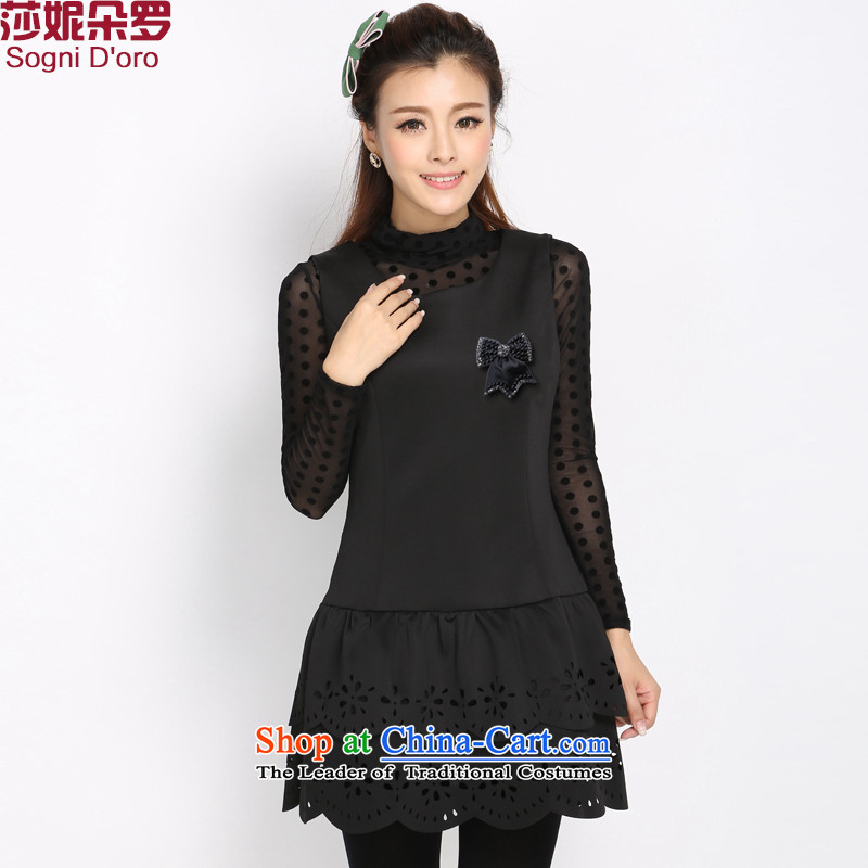 Luo Shani Flower Code 2014 autumn and winter New Women Korean Sau San video thin black sleeveless OL dresses�L 4021 Black