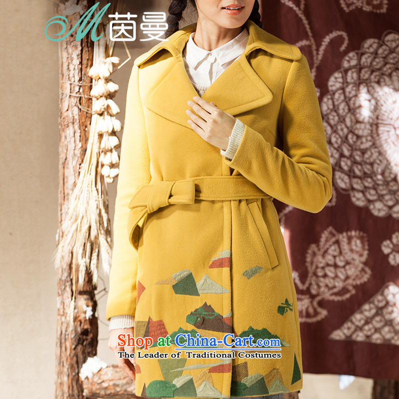 Athena Chu Cayman under the simple geometric color blocks in embroidery long jacket _8443200566_?- mustard yellow燲L