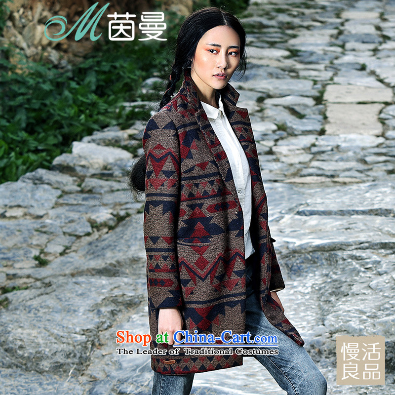 Athena Chu Cayman Women's gross? 2014 winter coats of nostalgia for the stamp in the new long coats)? female)? (8443200240 coats 】 Spring earth brown L
