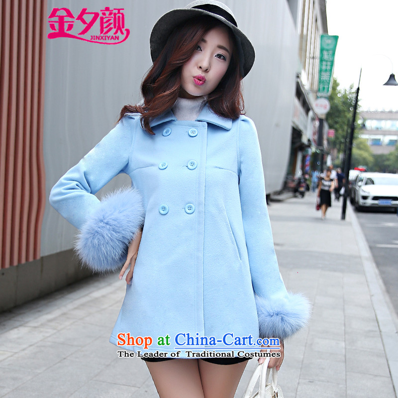 Kim precarious Ngan 2015 Fall/Winter Collections new Korean women in loose fit long sleeve cuffs gross? coats fox 8885 Lake blue L