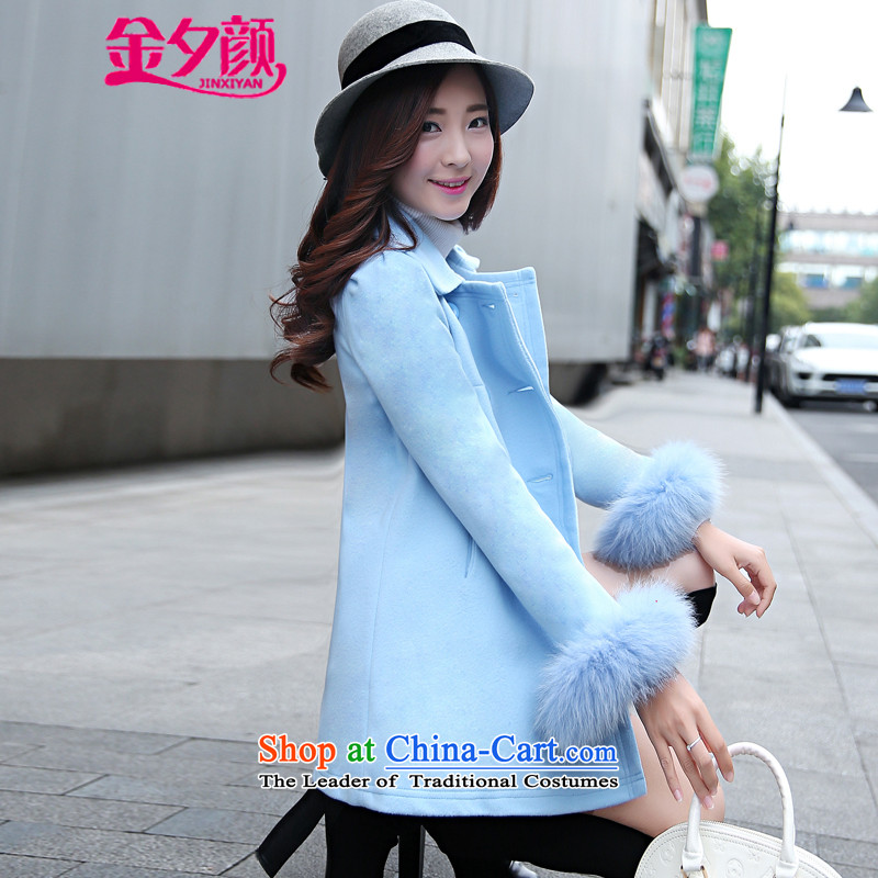 Kim precarious Ngan 2015 Fall/Winter Collections new Korean women in loose fit long sleeve cuffs gross? coats fox 8885 Lake blue聽, L, Kim overnight Mr NGAN has been pressed shopping on the Internet