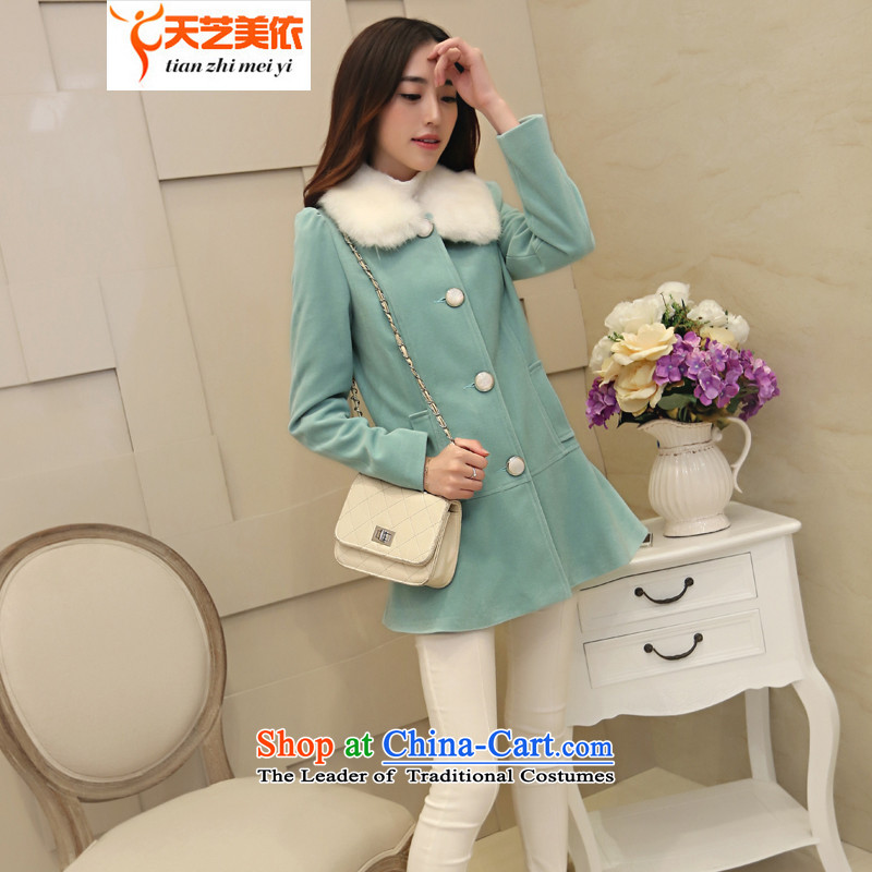 According to the2014 days Ji-mi New Product A Version of autumn large a Woman   temperament. Long hair?8 702Blue JacketXL