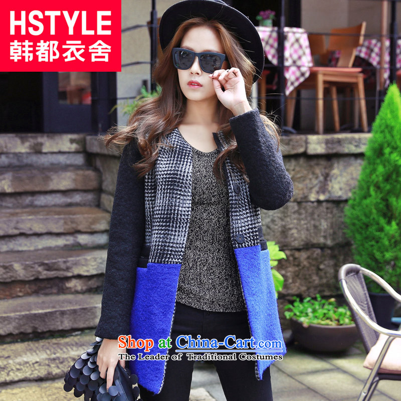 Korea has the Korean version of the Dag Hammarskjöld yi 2015 winter clothing new women chidori knots of stitching NG3629 gross? jacket Tsat Po blue S