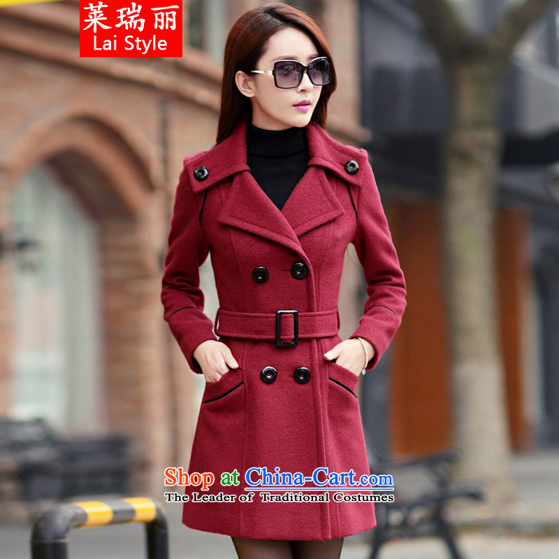 Gloria Ruili2015 autumn and winter new Korean girl in Sau San long coats jacket girls gross? 1191 wine redM