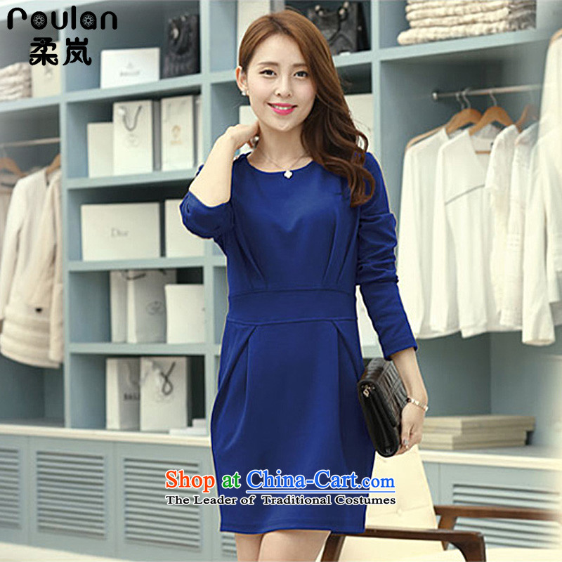 Sophie sponsors to xl thick MM2015 autumn and winter for women new Korean minimalist creases Sau San long-sleeved dresses female 2703 Blue XXL