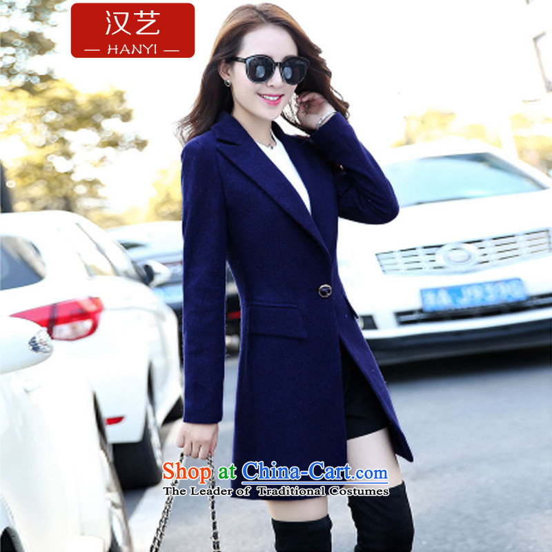Han-yi 2015 Fall_Winter Collections of new small wind Korean Heung-jacket in gross so long a wool coat women Sau San han bum navy L