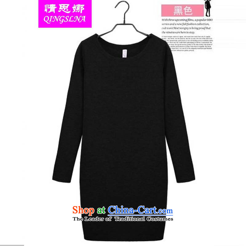 Love in the three big code Women Korean autumn to replace wear shirts xl thick mm thin skirts thick sister graphics plus lint-free warm long-sleeved black XXXL dresses