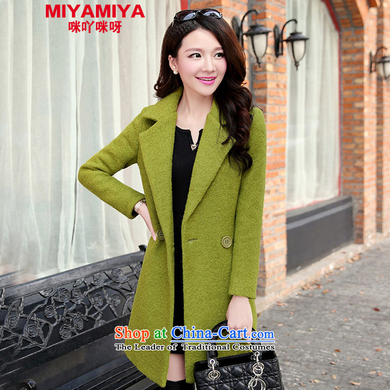 The autumn and winter MIYAMIYA2015 new coats of female in the    ? long thick coarse wool? jacket flower greenXXL _high quality to price ratio- Spot_