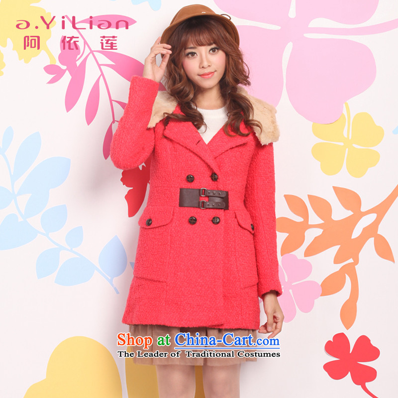 Aida 2015 Autumn Lin new gross in Women's jacket? Long Korean Sau San double-a wool coat DSI24256 warm red聽L
