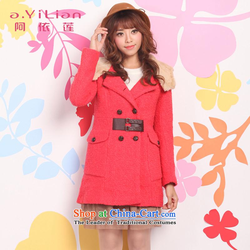 Aida 2015 Autumn Lin new gross in Women's jacket? Long Korean Sau San double-a wool coat DSI24256 warm redL