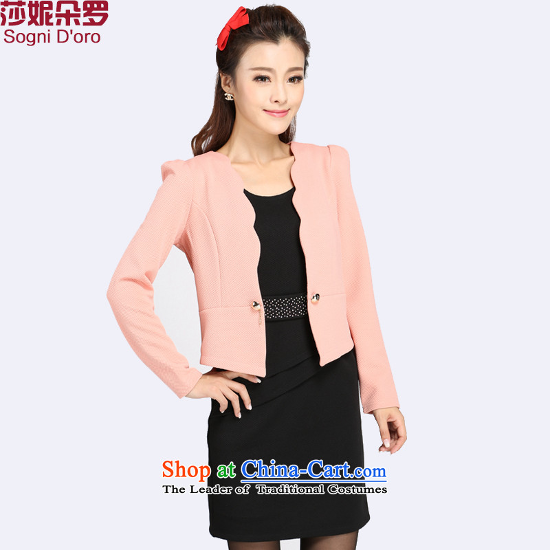 The latte macchiato, Shani to xl women fall new Korean Sau San two kits long-sleeved video thin thick mm dresses 4032nd bare pink 6XL
