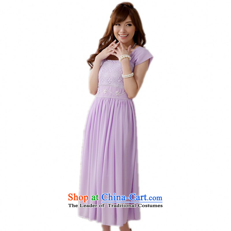 Package women accepted dresses xl new dress skirt Fashion elegant luxury pure color chiffon long skirt wide shoulder strap lifting strap around your waist skirt bridesmaid annual small dress purple XXL 140-160 characters around 922.747
