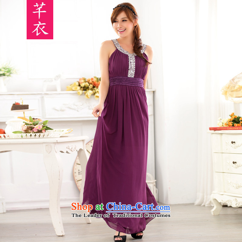 Xl Kumabito Women聽2015 mm thick new Western wind round-neck collar to manually staple large bright pearl drill chiffon banquet gown dress code are聽90-120 catty Purple