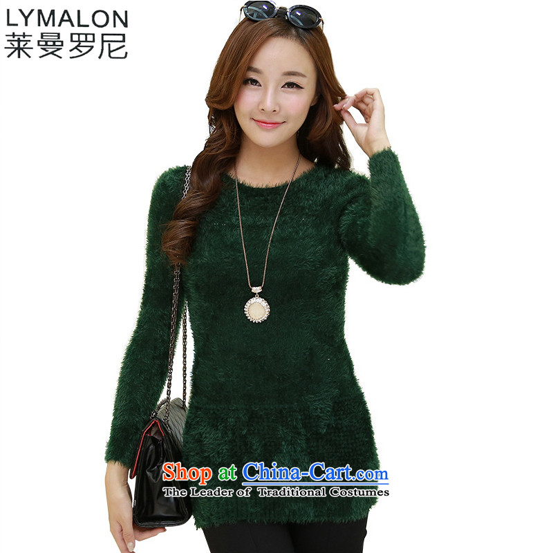 The lymalon Lehmann 2015 winter new large stylish women micro-elastic warm western edition mohair dress code are dark green 1160