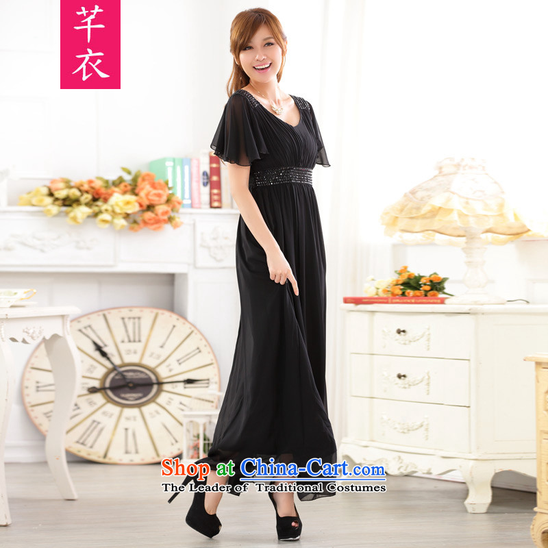 Increase women's dress code of the new Europe and the annual meeting of the thick mm2015 short-sleeved reset manually staple bead sexy V-Neck chiffon late chairman edition dress dresses Black XL 120-140 catty