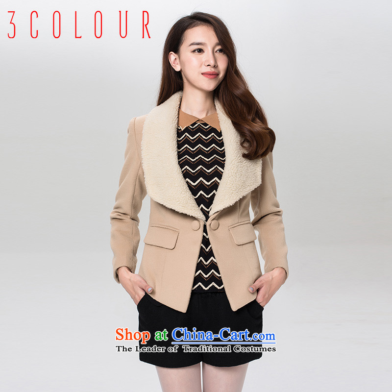 3 color for winter comfortable two kits handsome lapel of large graphics thin hair so Sau San short coats female beigeM_160_84a