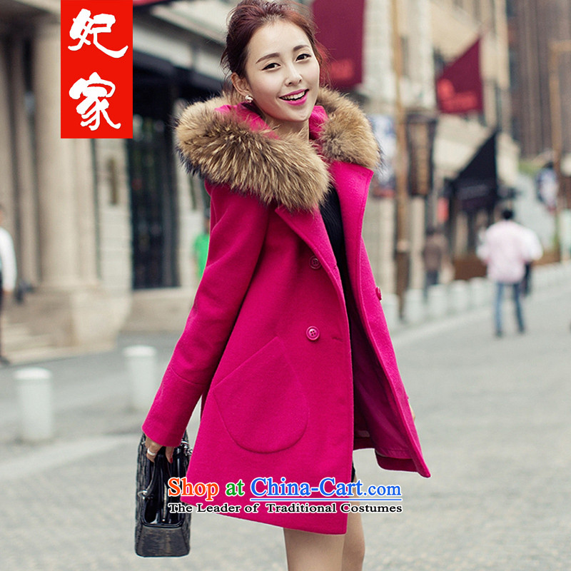 The autumn and winter Princess Furniture new gross? coats that long loose cloak jacket ultra-Nagymaros collar double-a wool coat of mail package red S
