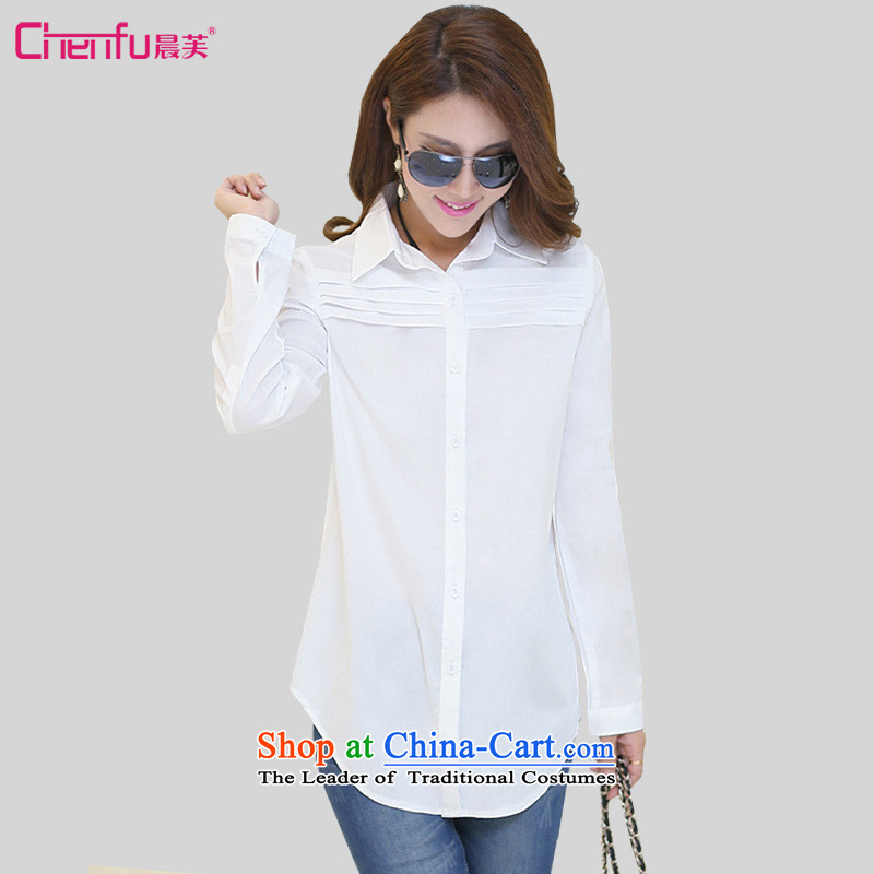 Morning spring 2015 to the new version to Korea to increase women's code in mm thick long relaxd casual extra-long sleeved shirt with white long-sleeved shirt爁or 161-180 4XL catty