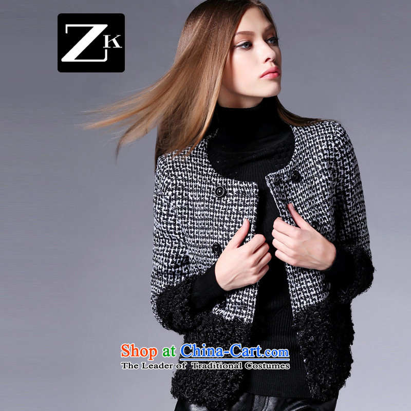 Zk Western women 2015 autumn and winter new chidori grid stitching gross shortage of female jacket? Small incense wind gross coats black L?