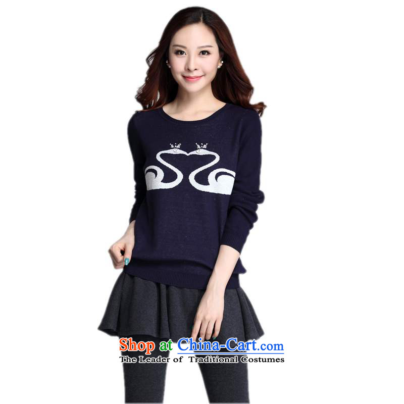 The package of ladies' knitted shirts mail Korean college wind lady to long-sleeved sweater xl swan stamp forming the T-shirt shirt leisure lady video thin dark blue T-shirt 3XL approximately 160-175 catty