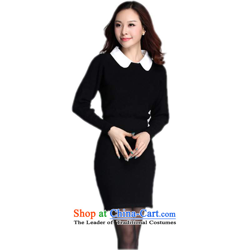 Package Mail sweater skirt the ventricular hypertrophy code with Korean stars temperament and elegant color plane collision lapel elegant beam forming the pockets and knitting dress thick mm black 2XL about cost between HKD150-170 catty